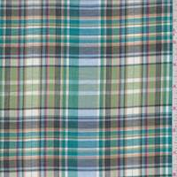 Lime/Dark Teal Multi Plaid Cotton Lawn